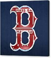 Boston Red Sox Logo Letter B Baseball Team Vintage License Plate Art Canvas Print