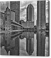Boston Reflections Bw Canvas Print