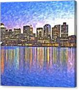 Boston Skyline By Night Canvas Print