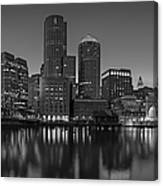 Boston Skyline Seaport District Bw Canvas Print