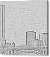 Boston Skyline Stencil Canvas Print