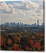 Boston Skyline View From Mt Auburn Cemetery Canvas Print