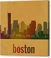 Boston Skyline Watercolor On Parchment Canvas Print