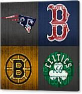 Boston Sports Fan Recycled Vintage Massachusetts License Plate Art Patriots Red Sox Bruins Celtics Canvas Print
