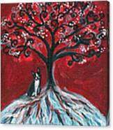 Boston Terrier Tree Love Canvas Print