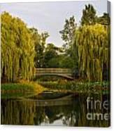 Botanic Garden Bridge At Dusk Canvas Print