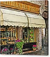 Bottega Del Pane Italian Bakery And Bicycle Canvas Print