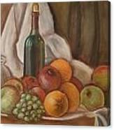 Bottle Of Bordeaux With Fruits Canvas Print