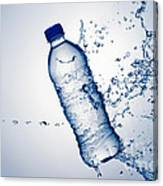 Bottle Water And Splash Canvas Print