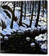 Boulder Brook In Winter Canvas Print