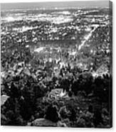 Boulder Colorado City Lights Panorama  Black And White Canvas Print