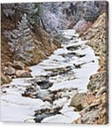 Boulder Creek Frosted Snowy Portrait View Canvas Print