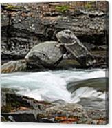 Boulders In Mcdonald Creek Canvas Print