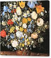 Bouquet In A Clay Vase Canvas Print