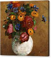 Bouquet Of Flowers In A White Vase Canvas Print