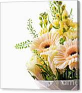 Bouquet Of Flowers On White Background Canvas Print