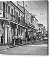 Bourbon Street Afternoon - Paint Bw Canvas Print