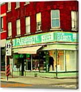 Boutique Fleuriste Coin Vert St Henri Flower Shop Notre Dame Montreal Urban Scenes Carole Spandau  Canvas Print