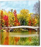 Bow Bridge Autumn In Central Park  Canvas Print