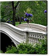 Bow Bridge Flower Pots - Central Park N Y C Canvas Print