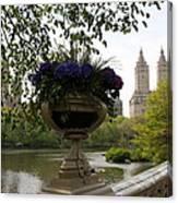 Bow Bridge Flowerpot And San Remo Nyc Canvas Print