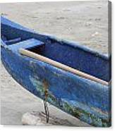 Bow Of A Blue Wood Fishing Boat Canvas Print