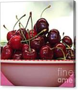 Bowl Of Cherries Closeup Canvas Print