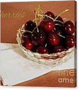 Bowl Of Cherries With Text Canvas Print