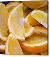 Bowl Of Sliced Oranges Canvas Print