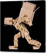 Box Character Carrying Large Box Canvas Print
