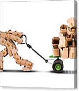 Box Character Moving Boxes On Trolley Canvas Print
