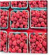 Boxes Of Fresh Red Raspberries Canvas Print