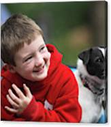 Boy, Age 6, Smiling With Jack Russell Canvas Print