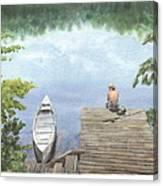 Boy At A Lake Watercolor Portrait Canvas Print