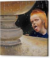 Boy At Fountain Of Youth Canvas Print