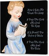 Boy Childs Bedtime Prayer Canvas Print