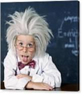 Boy Dressed As Einstein Canvas Print