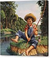 Boy Fishing In River Landscape - Childhood Memories - Flashback - Folkart - Nostalgic - Walt Curlee Canvas Print