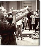 Boy On A Trumpet In Nola Canvas Print