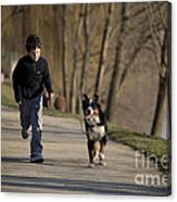 Boy Running With Dog Canvas Print