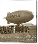 Boy Scouts And Goodyear Blimp Guarding Graf Zeppelin Los Angeles Airport Aug. 26 1929 Canvas Print