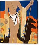 Boy Warrior With Two Borzoi Hounds Canvas Print