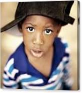 Boy Wearing Over Sized Hat Sideways Canvas Print