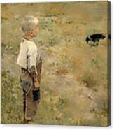 Boy With A Crow Canvas Print