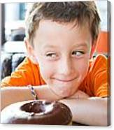 Boy With Donut Canvas Print