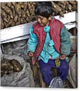 Boy With Grapes - Cusco Market Canvas Print