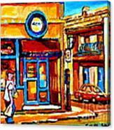 Boy With Steinbergs Bag Near Waldmans Market Paintings Colonial St Vintage Montreal Art C Spandau Canvas Print