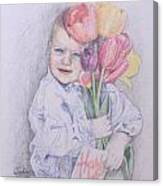 Boy With Tulips Canvas Print