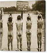 Boys Bathing In The Park Clapham Canvas Print