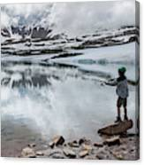 Boys Fish In Superior Lake During A Six Canvas Print